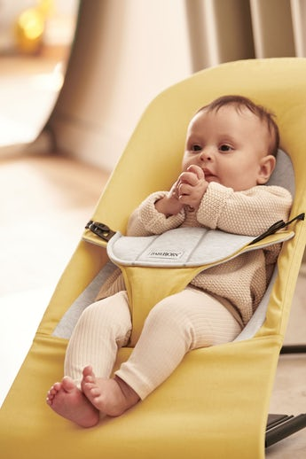 Bouncer Balance Soft in Yellow/Grey in soft Cotton-Jersey - BABYBJÖRN
