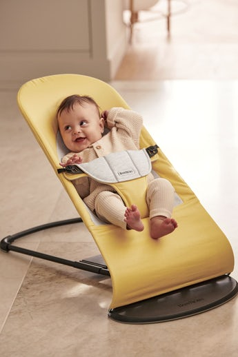 Bouncer Balance Soft in Yellow/Grey Cotton-Jersey - BABYBJÖRN