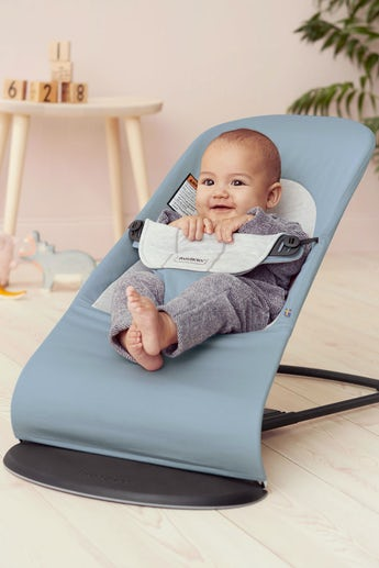 Baby Bouncer Balance Soft in Blue/Gray Cotton-Jersey - BABYBJÖRN