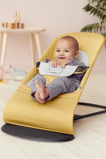 Bouncer Balance Soft Yellow Grey Cotton Jersey - BABYBJÖRN