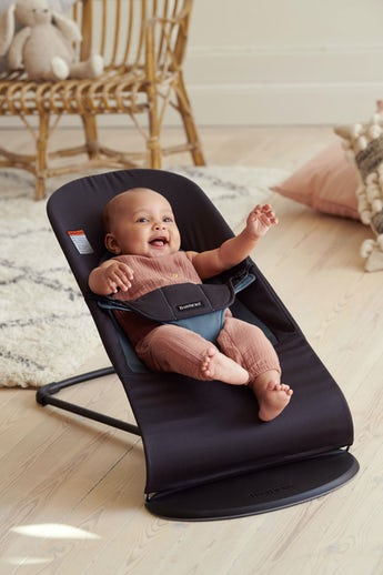 Bouncer Balance Soft Black Dark Gray Cotton - BABYBJÖRN