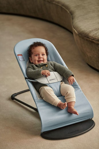 Bouncer Balance Soft blue/gray Cotton Jersey - BABYBJÖRN
