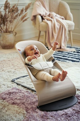 Bouncer Balance Soft Beige Gray in Cotton jersey - BABYBJÖRN
