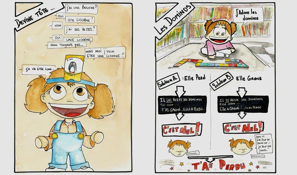 Magazine BABYBJÖRN – Image illustrée d'une petite fille qui joue à des jeux pour enfants.