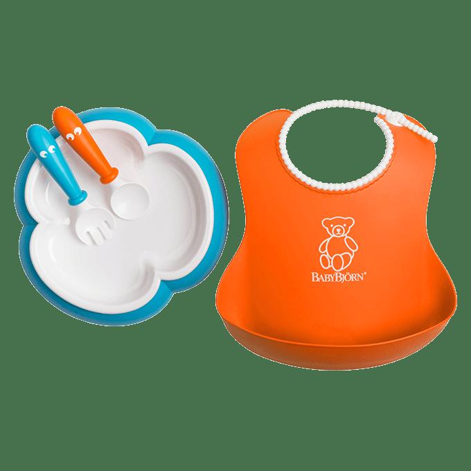 BABYBJÖRN Baby Feeding Set, Baby Plate, Spoon and Fork, Soft Bib, orange and turquoise, BPA-free plastic