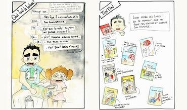 Magazine BABYBJÖRN – Image illustrée montrant un papa lisant un livre à sa fille, et plusieurs couvertures de Tintin.