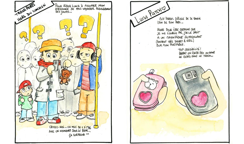 BABYBJÖRN Magazine – Sketches of a dad taking a selfie with a stuffed animal in a subway station and two cell phones sporting identical, heart-shaped stickers.