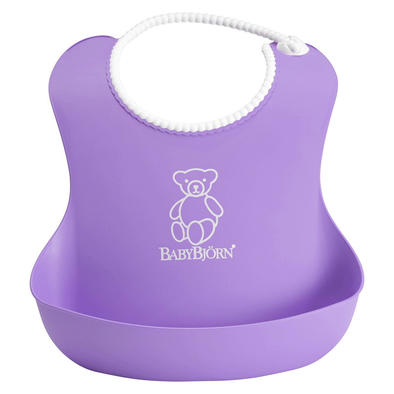 BABYBJÖRN Soft Bib in purple, an easy to clean bib with adjustable neckband, made from BPA-free plastic.