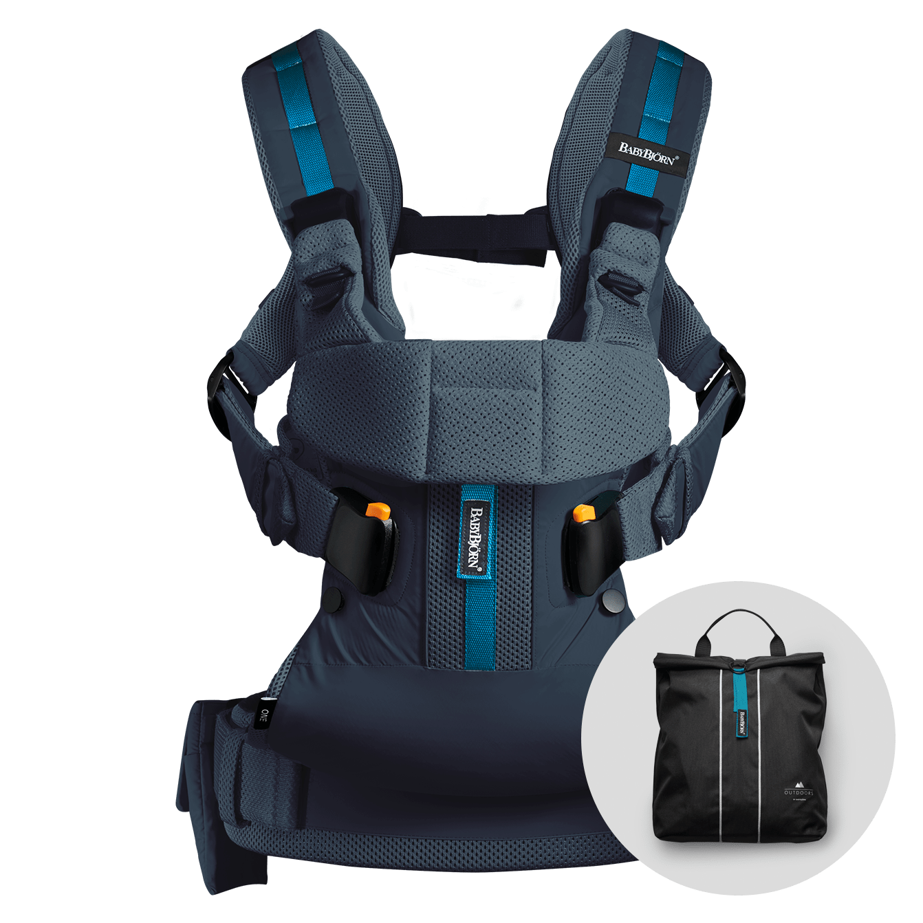 BABYBJÖRN Baby Carrier One Outdoors in dark blue, perfect for an active life.