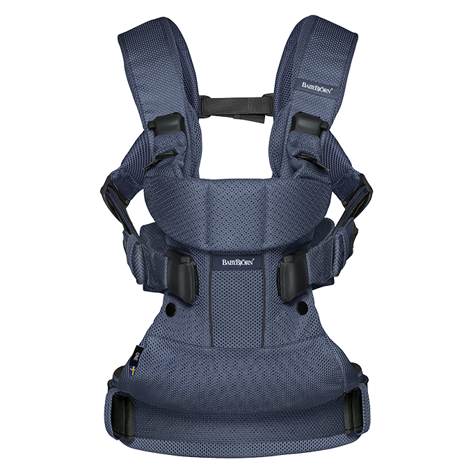 BABYBJÖRN Baby Carrier One Air in navy blue mesh, an ergonomic baby carrier perfect for newborn up to 3 years.