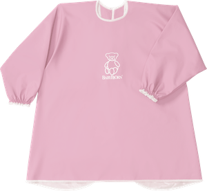 BABYBJÖRN Long Sleeve Bib in pink BPA-free plastic, bib and apron in one, covers both front and back.