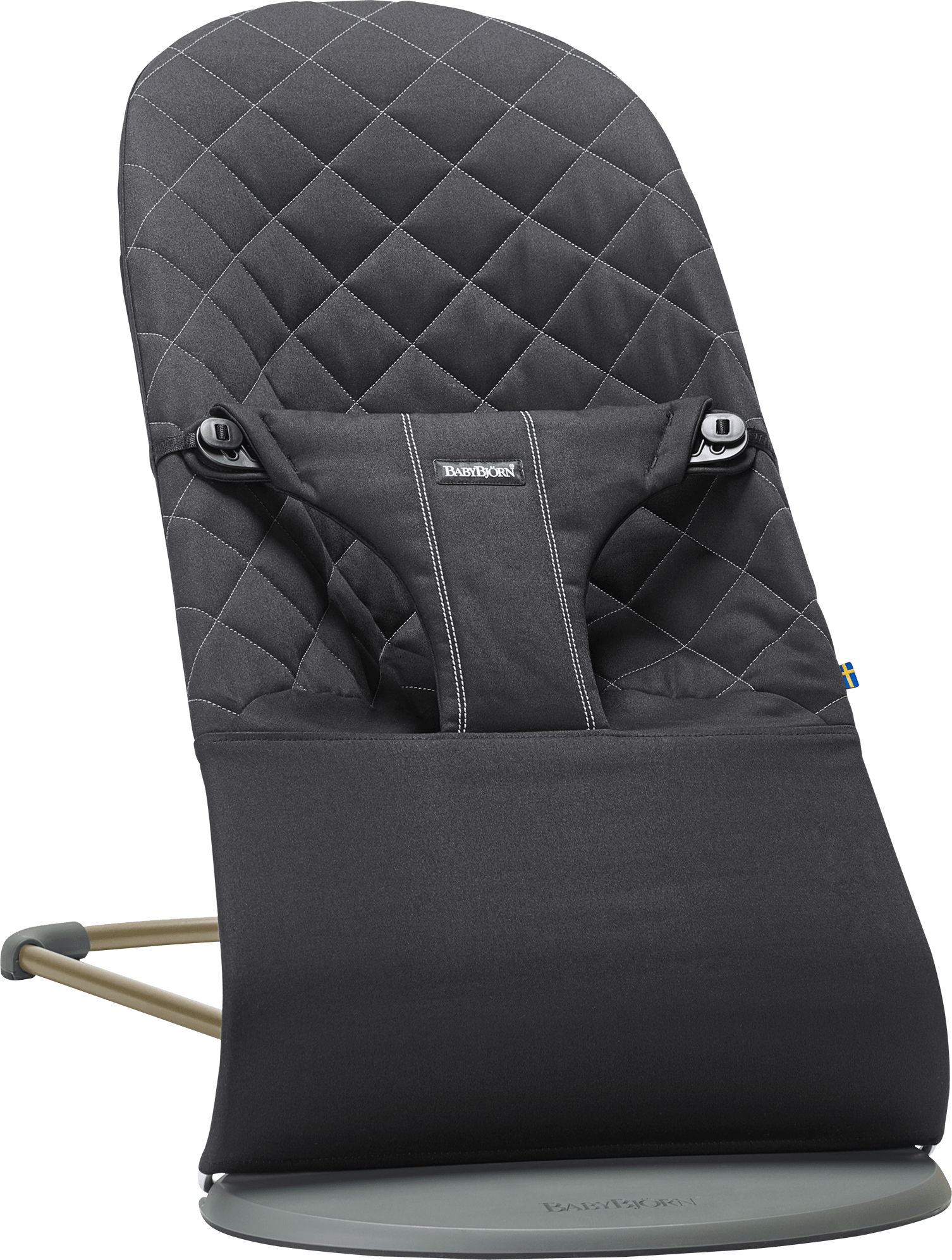 BABYBJÖRN Bouncer Bliss in black cotton, an ergonomic and cozy baby bouncer with gentle rocking.