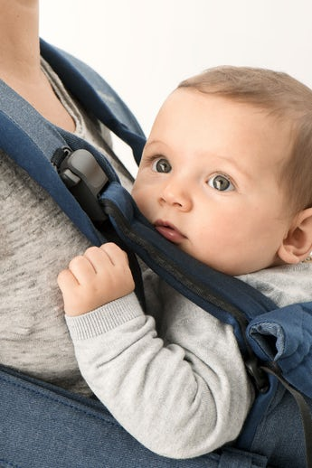 BABYBJÖRN Baby carrier One in blue denim cotton mix - for newborn, facing in, facing out and back carrying