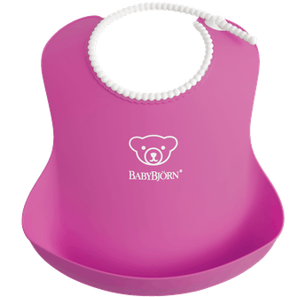 Comfy, waterproof baby bib with deep spill pocket catches any mess, Pink - BABYBJÖRN
