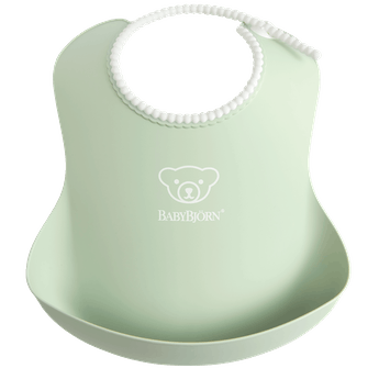 Comfy, waterproof baby bib with deep spill pocket catches any mess, Powder green - BABYBJÖRN