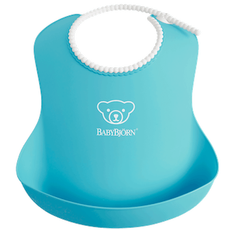 Comfy, waterproof baby bib with deep spill pocket catches any mess, Turqoise - BABYBJÖRN