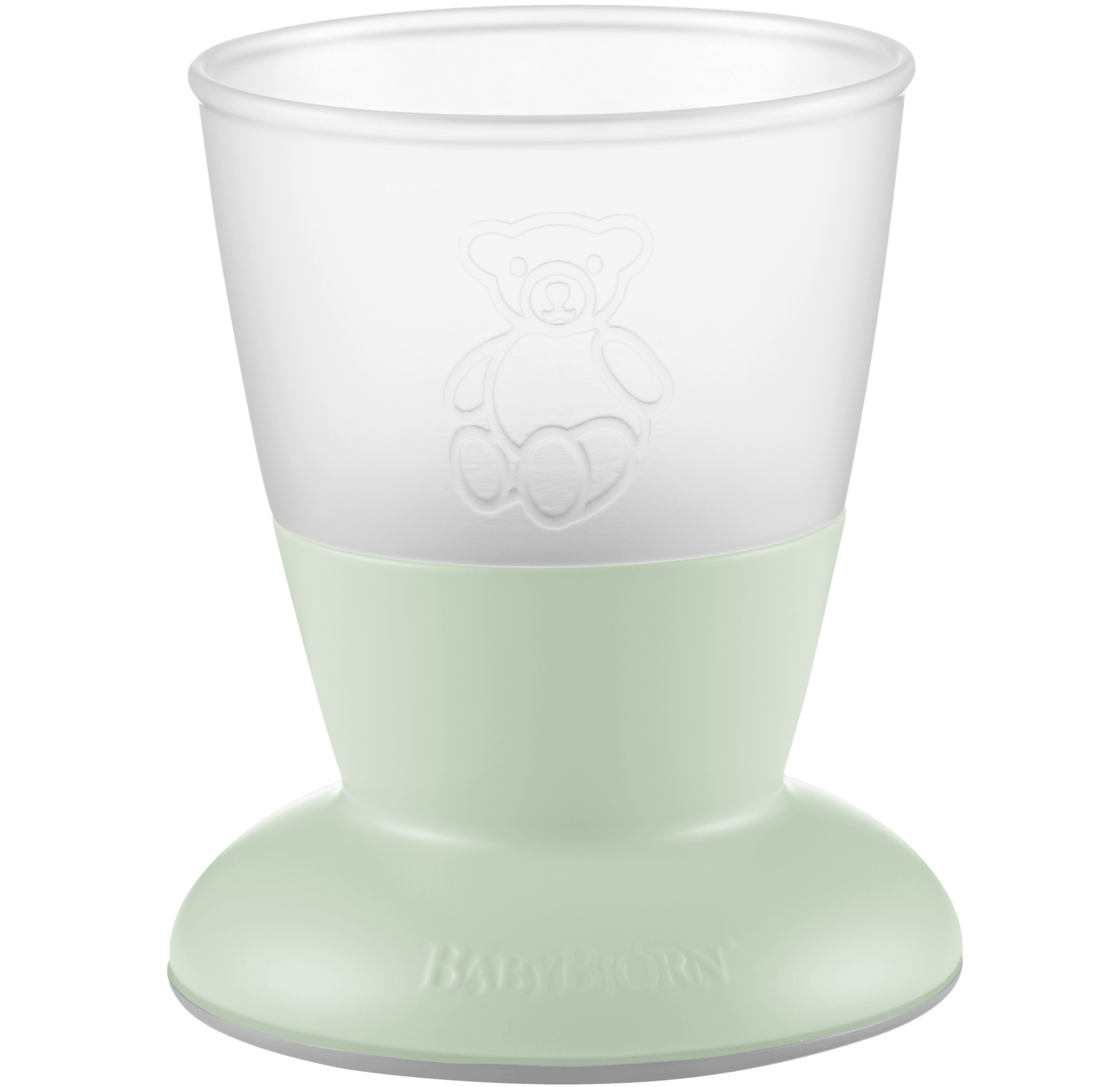 Baby Cup, 2-pack, Powder green, BPA-free plastic made in Sweden - BABYBJÖRN