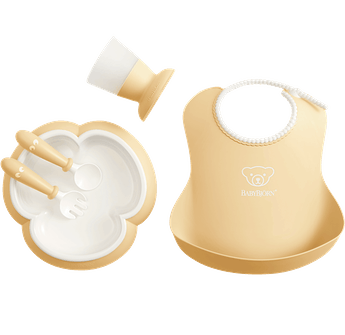 Baby Dinner Set, Powder yellow, Dinner set with smart design for fun mealtimes - BABYBJÖRN