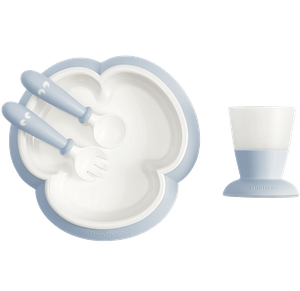 Baby feeding set with smart design makes self-feeding easy Powder blue - BABYBJÖRN