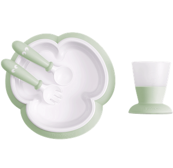 Baby feeding set with smart design makes self-feeding easy, Powder green - BABYBJÖRN
