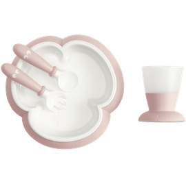 Baby feeding set with smart design makes self-feeding easy, Powder pink - BABYBJÖRN