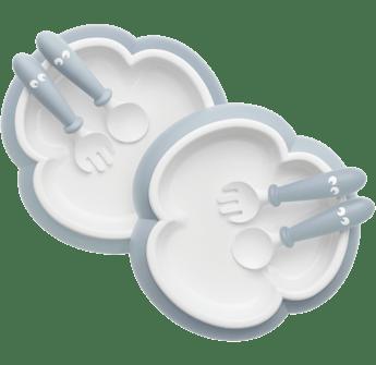 Assiette, Cuillère et Fourchette pour Bébé, Bleu pastel , 2 ensembles - BABYBJÖRN