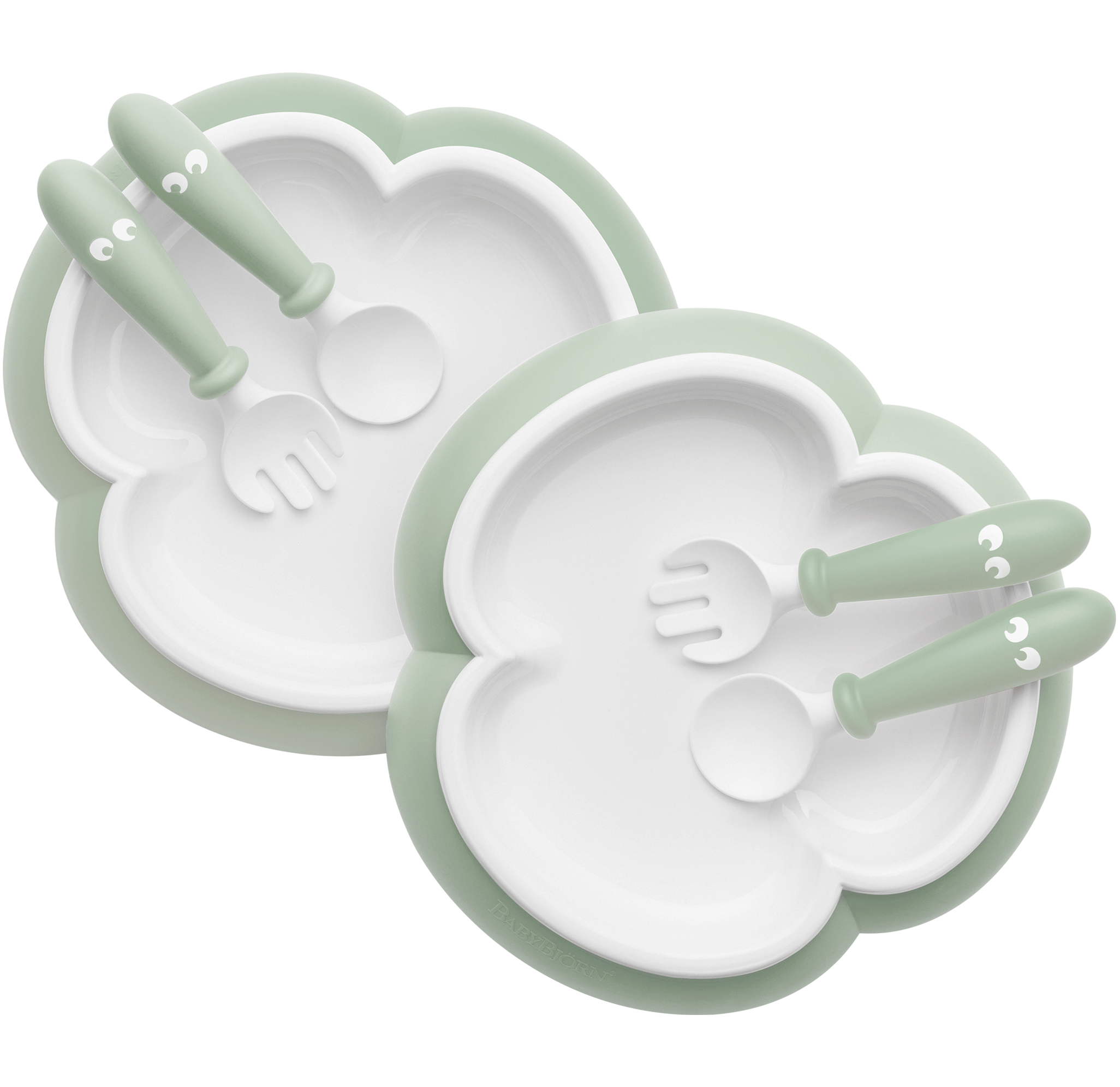 Baby Plate, Spoon and Fork, 2 sets, Powder green, with smart design which makes self-feeding easy - BABYBJÖRN