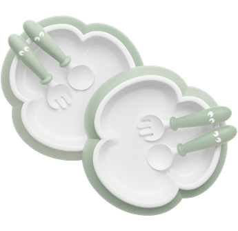 Baby Plate, Spoon and Fork, 2 sets, Powder green, BPA-free plastic made in Sweden - BABYBJÖRN