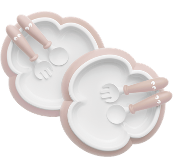 Baby Plate, Spoon and Fork, 2 sets, Powder pink, BPA-free plastic made in Sweden - BABYBJÖRN