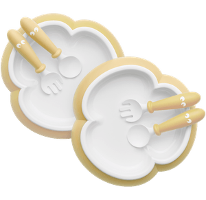 Baby Plate, Spoon and Fork, 2 sets, Powder yellow, with smart design which makes self-feeding easy - BABYBJÖRN