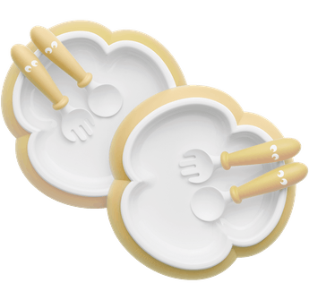 Baby Plate, Spoon and Fork, 2 sets, Powder yellow, BPA-free plastic made in Sweden - BABYBJÖRN