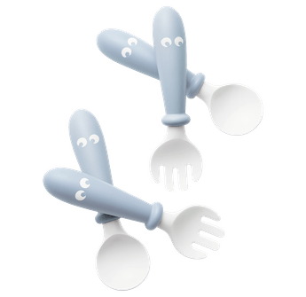 Baby spoons and forks that fit perfectly into small hands, 4 pcs, BPA-free plastic made in Sweden - BABYBJÖRN