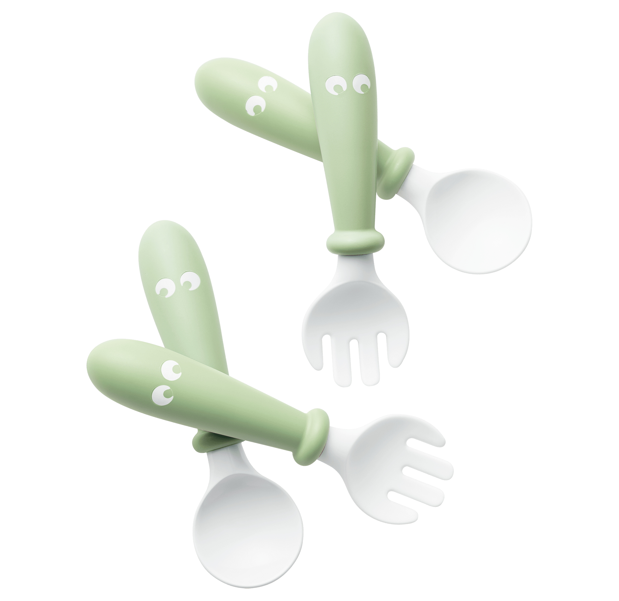 Baby spoon and fork that are easy to grip, 4 pcs, Powder green - BABYBJÖRN