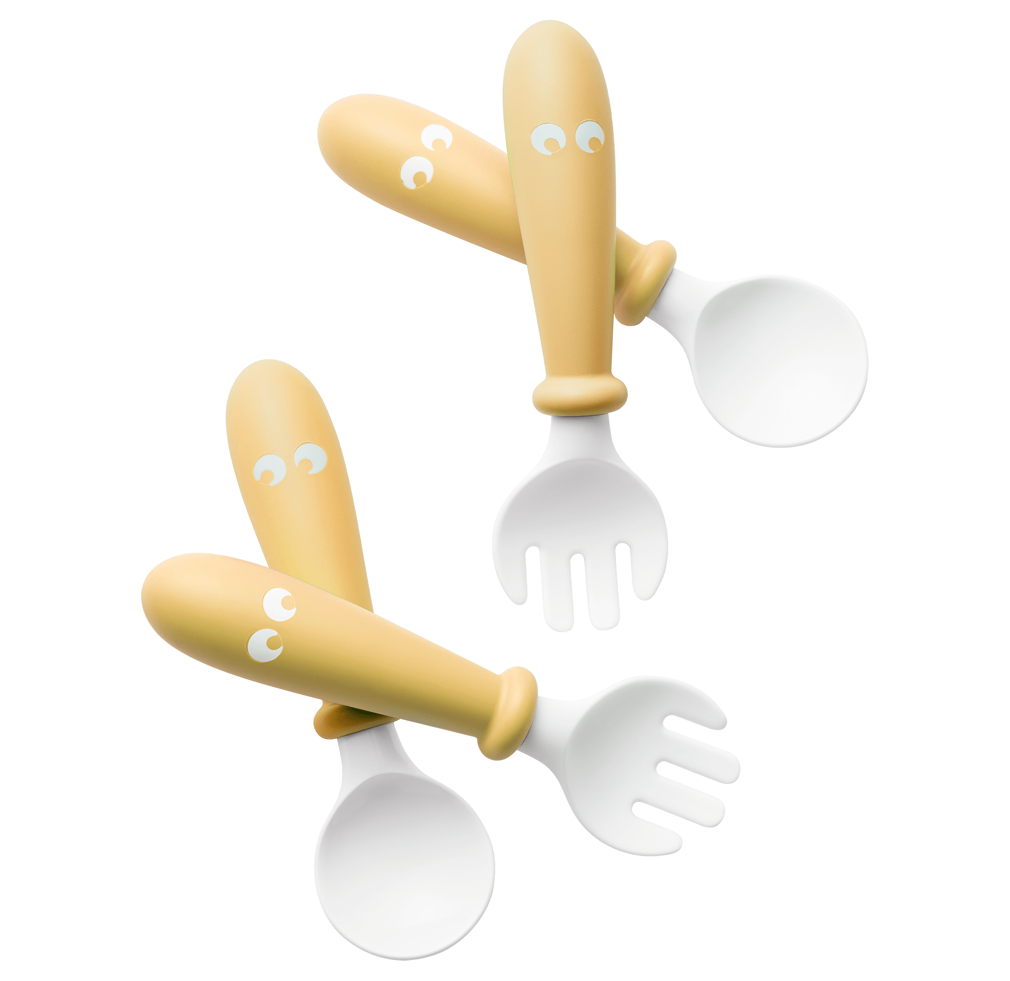 Baby spoon and fork that are easy to grip, 4 pcs, Powder yellow - BABYBJÖRN