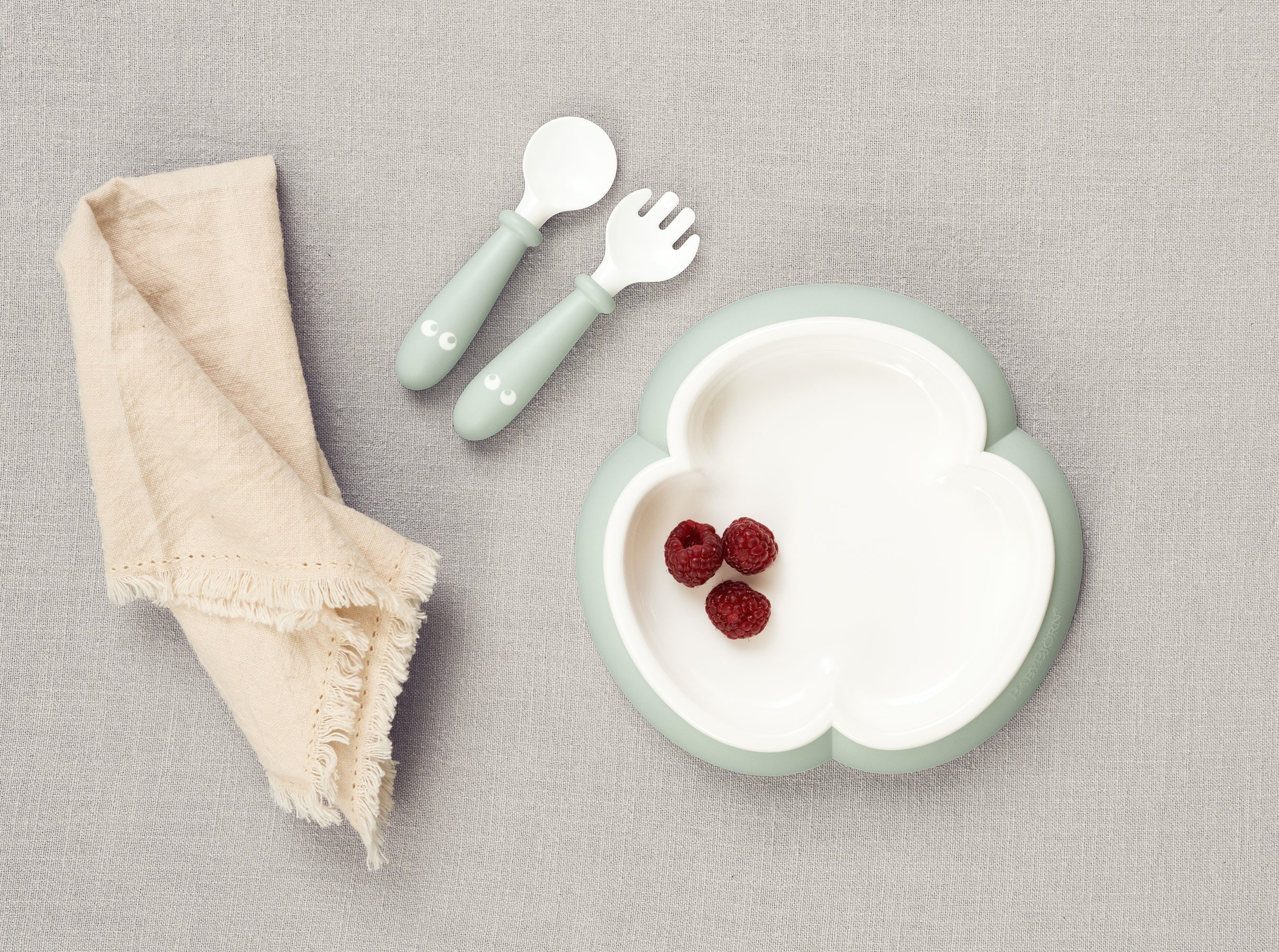 Baby Plate Set Including Baby Silverware Babybj 214 Rn