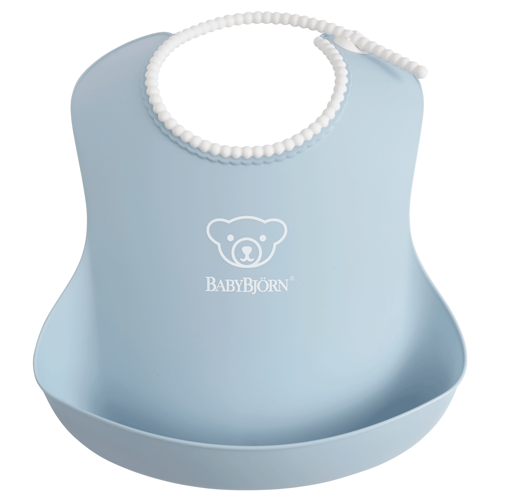 Baby Bib, Powder blue, with deep spill pocket to catch any mess - BABYBJÖRN