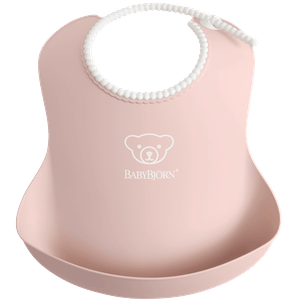 Baby Bib, 2-pack, Powder pink, with deep spill pocket to catch any mess - BABYBJÖRN