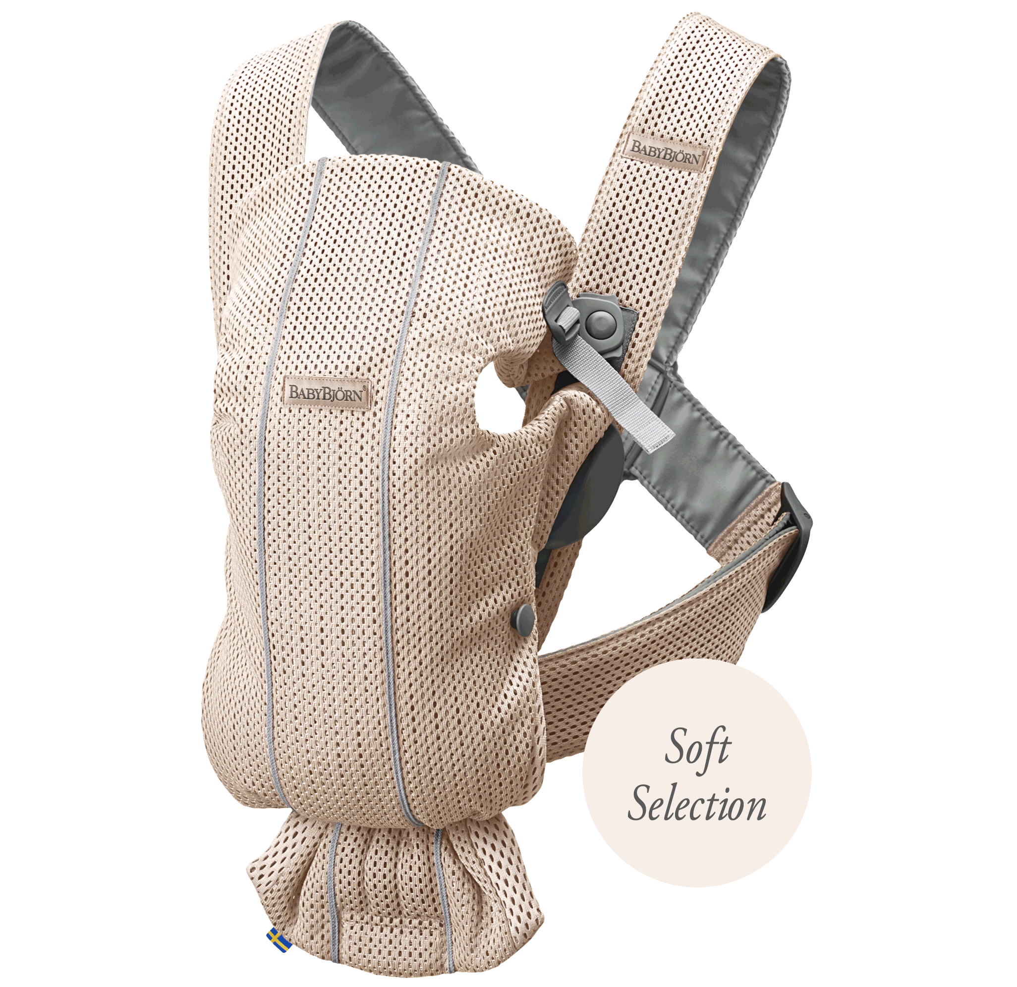 Baby Carrier Mini Pearly Pink 3D Mesh, Soft Selection, a small and easy to use Baby Carrier for newborns - BABYBJÖRN
