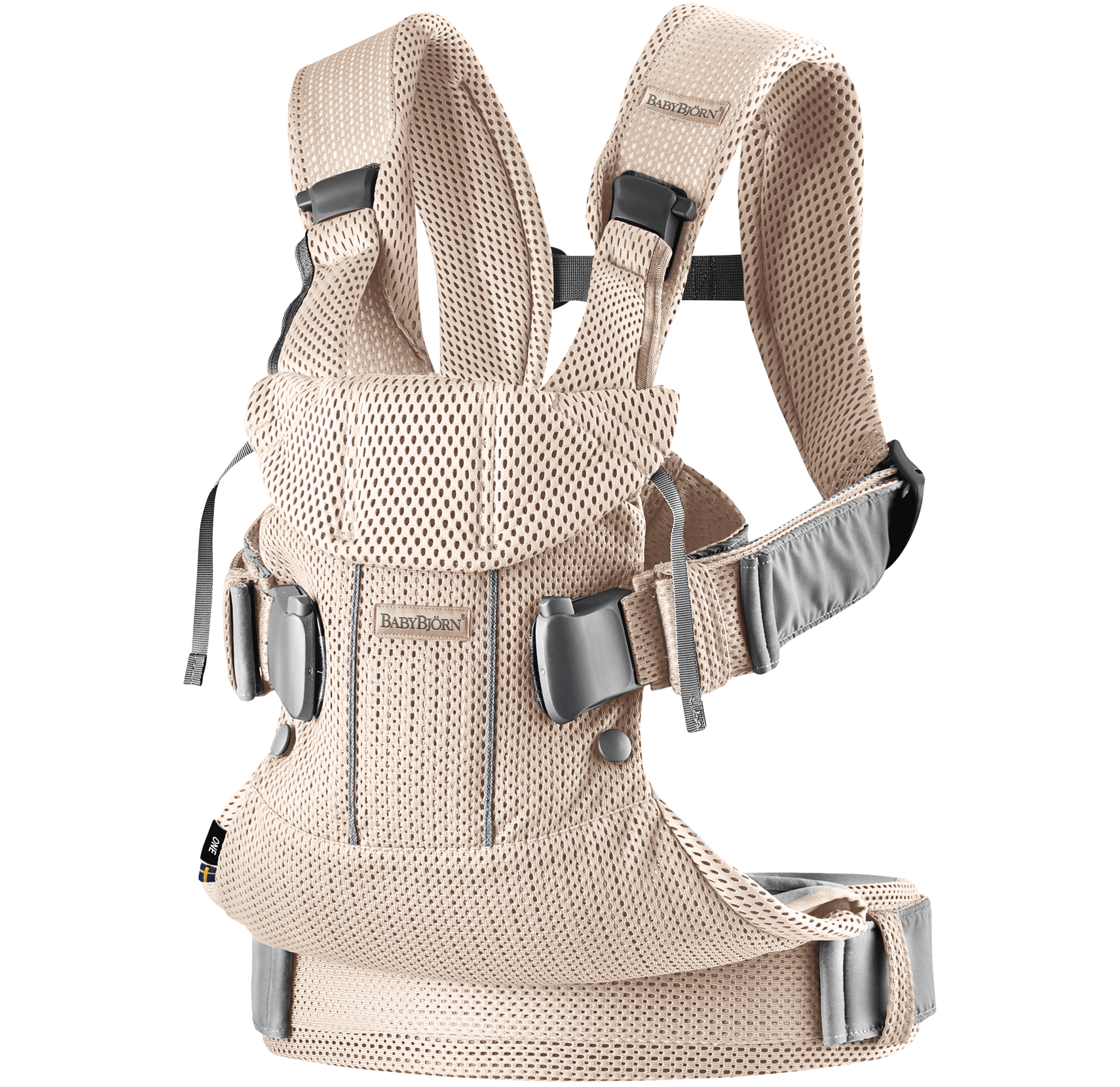 BABYBJÖRN Baby Carrier One Air in Pearly Pink 3D Mesh. Airy and cool mesh that dries rapidly.