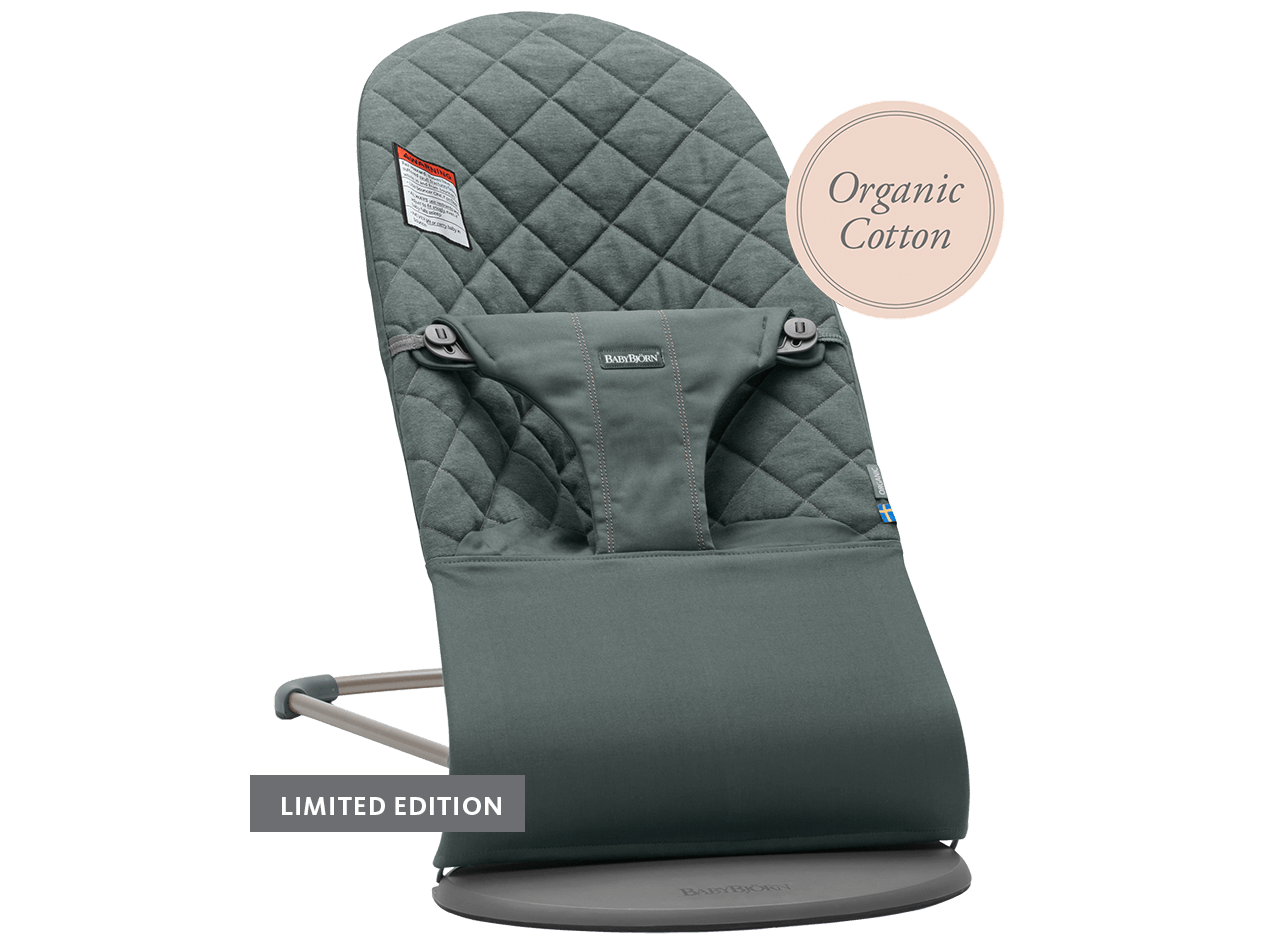 Bouncer Bliss Grayish Green Organic Cotton Limited Edition -006068- BABYBJÖRN