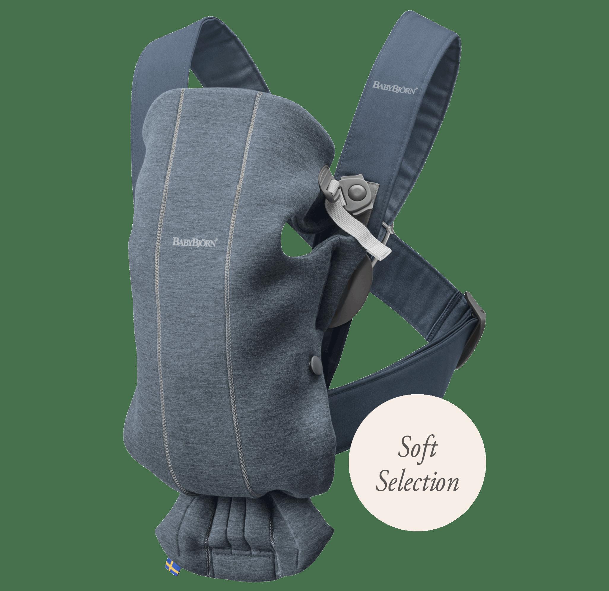 Porte-bébé Mini Bleu ardoise 3D Jersey Soft Selection, Le porte-bébé idéal pour les nouveau-nés - BABYBJÖRN