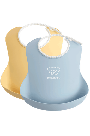 Baby Bib 2 pcs in Powder Blue and Powder Yellow - BABYBJÖRN