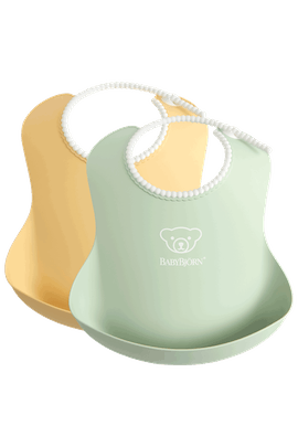 Baby Bib 2 pcs in Powder Green and Powder Yellow - BABYBJÖRN