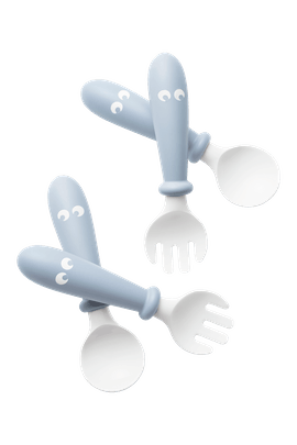 Baby Spoon and Fork 4 pcs in Powder Blue - BABYBJÖRN