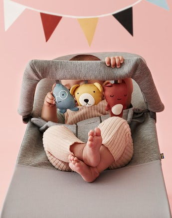 BABYBJÖRN Bouncer Bliss, Light gray, 3D Jersey, with Soft Friends toy
