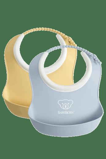 Small Baby Bib 2 pack, Powder Yellow and Powder Blue - BABYBJÖRN
