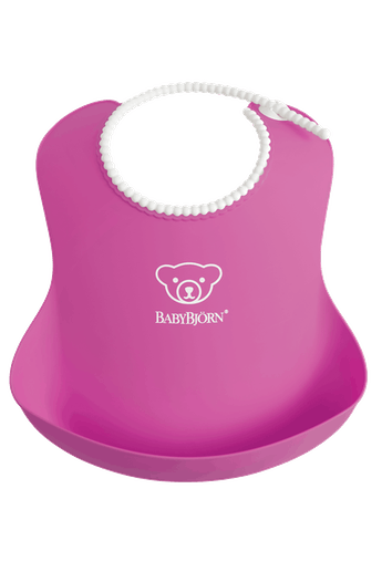 Baby Bib, Pink, with deep spill pocket to catch any mess - BABYBJÖRN
