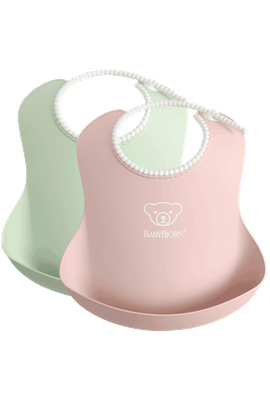 Baby Bib, 2-pack, Powder green / Powder pink, with deep spill pocket to catch any mess - BABYBJÖRN