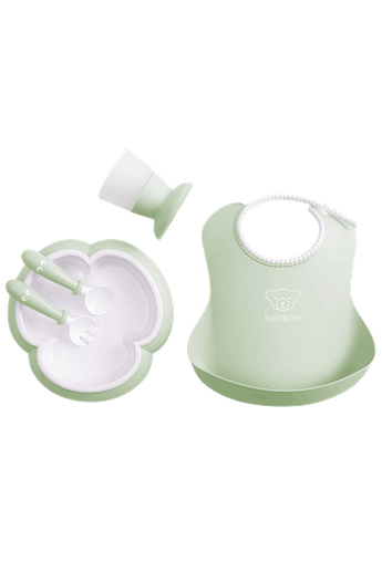 Complete baby dinner set in an attractive gift box - Powder green - BABYBJÖRN