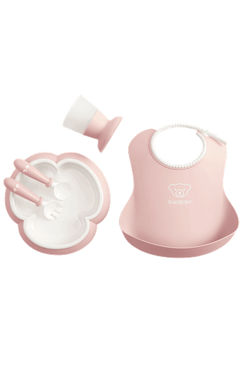 Complete baby dinner set for fun mealtimes in an attractive gift box - Powder pink - BABYBJÖRN